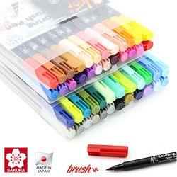 Sakura Koi Mewarnai Sikat Pena 6 Abu-abu/12/24/48 Warna Set Sikat Fleksibel Marker Warna Air pena Air Berbasis Tinta Lukisan Persediaan