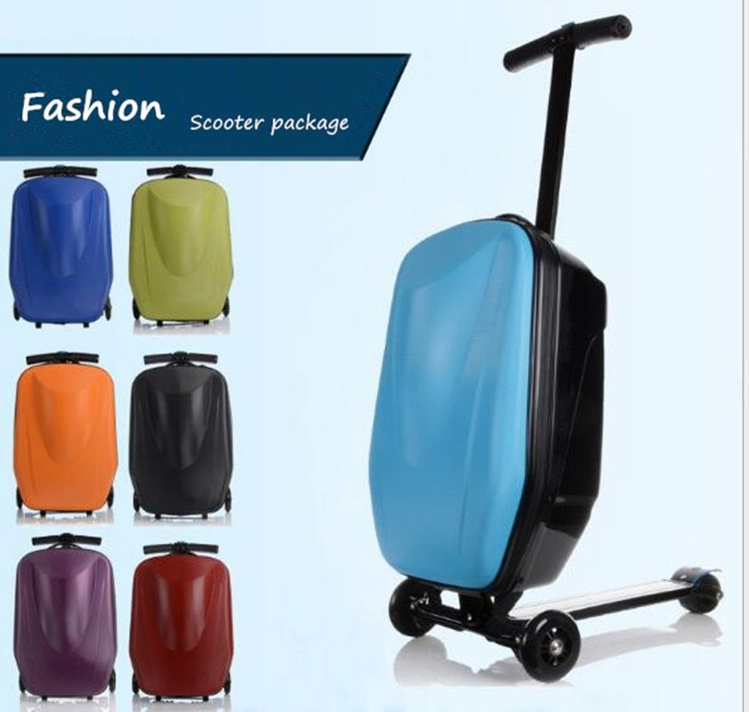 New Designe Child Scooter Luggage Suitcase With Wheels Skateboard Carry ons Luggage Travel Trolley Case XL006