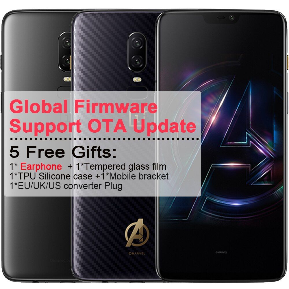 Oneplus 6 Mobile Phone 6.28'' Full screen 8GB RAM 256 ROM Android 8.1 Snapdragon 845 Octa Core 2.7GHz Dual Camrea 20+16MP phone