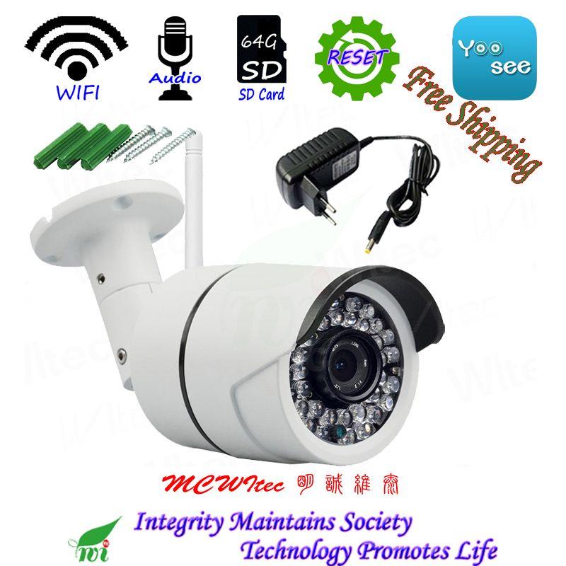 Audio Reset WIFI IPC HD 1080 p 960 p 720 p Sicherheit Kamera mit Halterung ONVIF P2P IP Cam Nacht IR CCTV SD Karte RTSP Outdoor Alarm