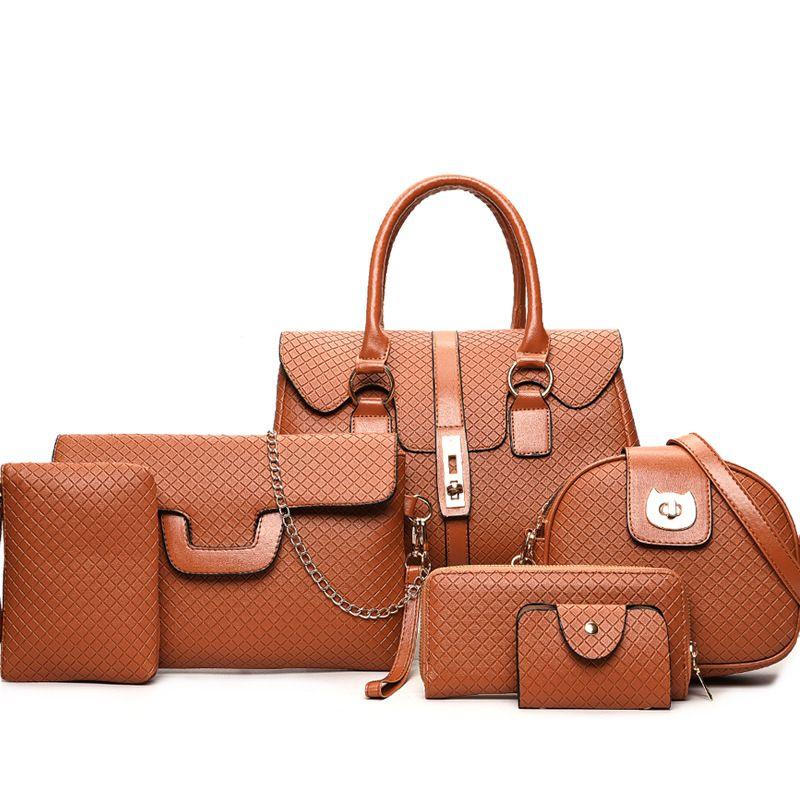 2018 European and American fashion designer high-capacity Composite bag 6pcs/set of women's bags Lady handbags Shoulder Bags