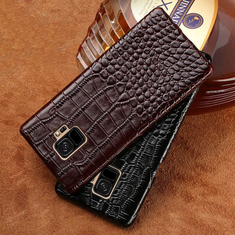 Genuine Leather Phone case For samsung galaxy s9 Plus S7 S8 A5 A7 A8 J5 J7 Note 8 Crocodile Texture Luxury Cowhide Back cover