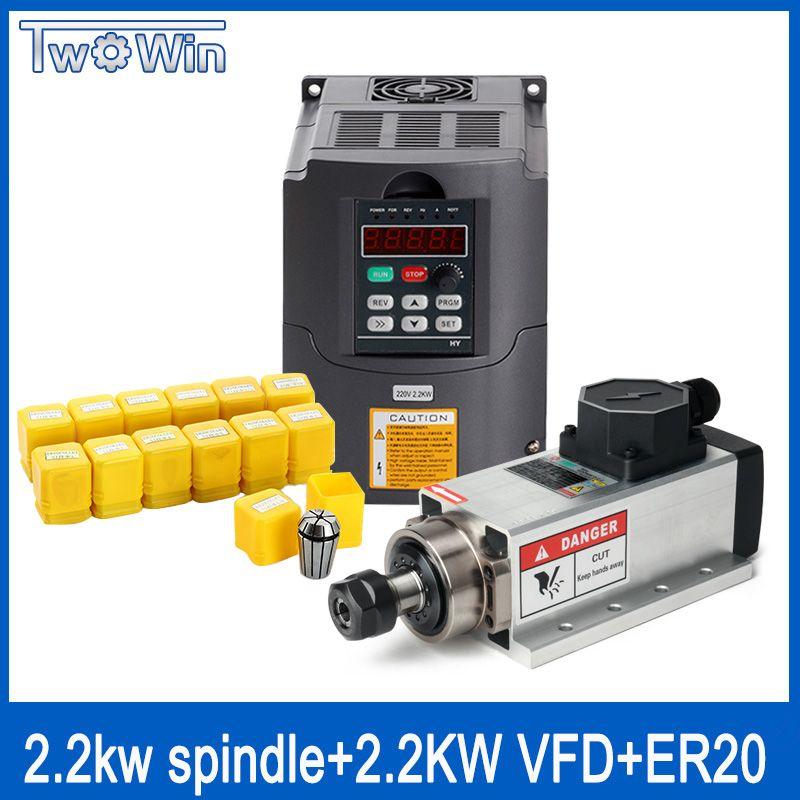 2.2kw luftgekühlten quadrat spindel motor kit 2200 w spindel + 2.2kw 220 V inverter + ER20 collet air spindel motor gravur fräsen