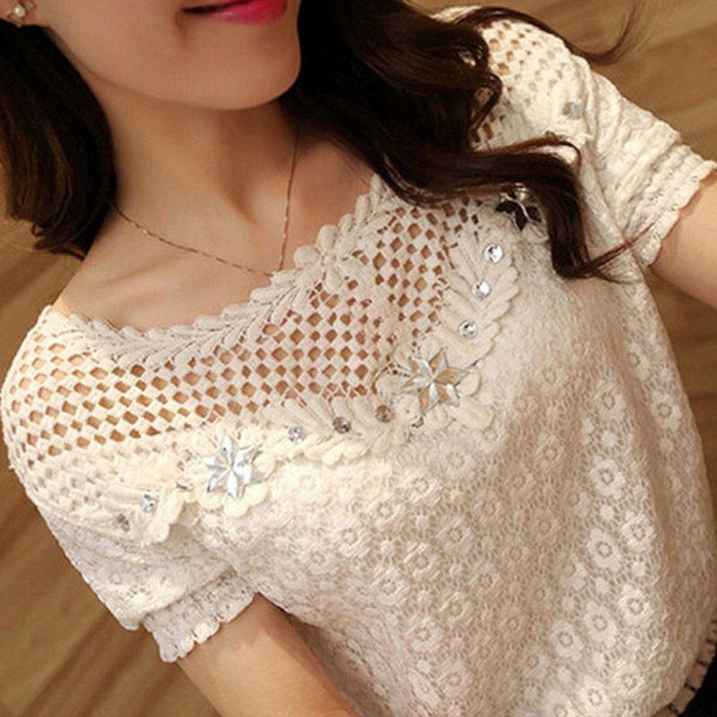 M-6XL ZANZEA Blusas Femininas Women <font><b>White</b></font> Lace Blouse 2018 Summer Short Sleeve Hollow Out Floral Shirts Casual Plus Size Tops