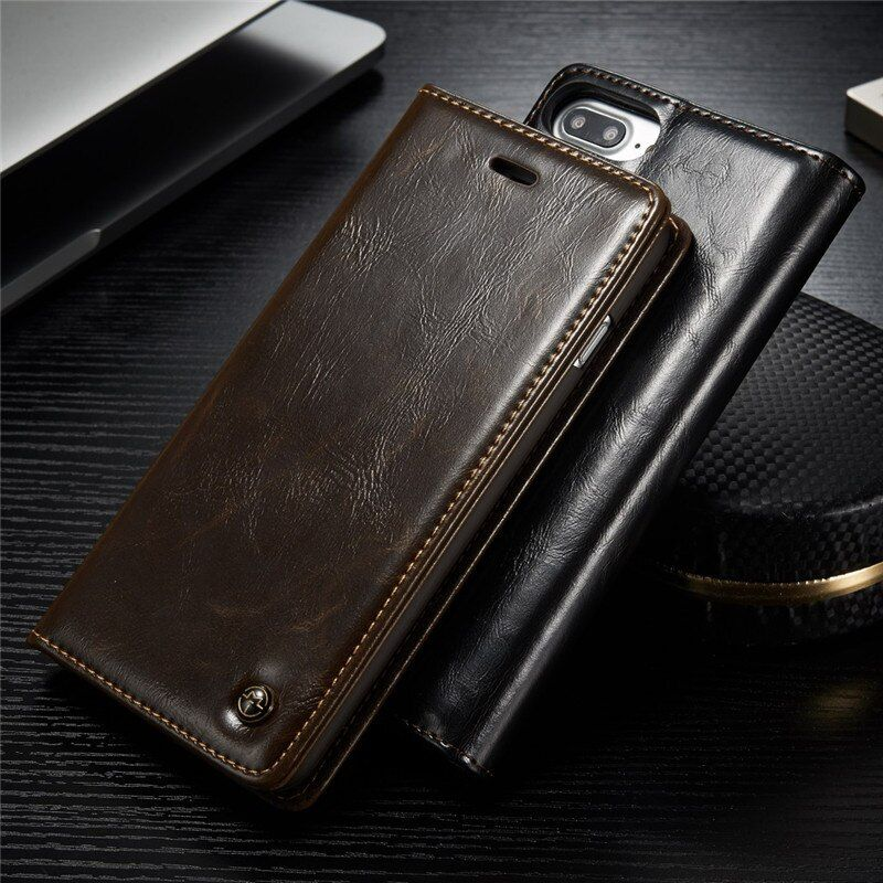 De luxe En Cuir D'origine Téléphone étuis pour iPhone 7 6 6 S 8 Plus À Rabat Magnétique pour iPhone 5 S 5 X XR XS Max Portefeuille Sacs