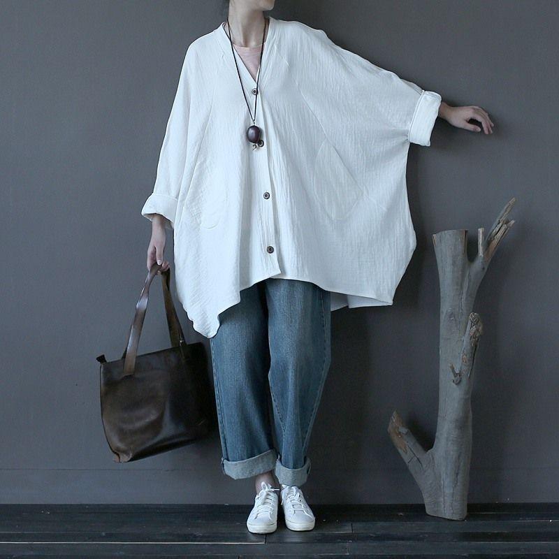 Одноцветное красный, белый Винтаж Лен Блузки для малышек Для женщин блузка рубашка Большие размеры Batwing оригинальный Рубашки домашние муж. ...