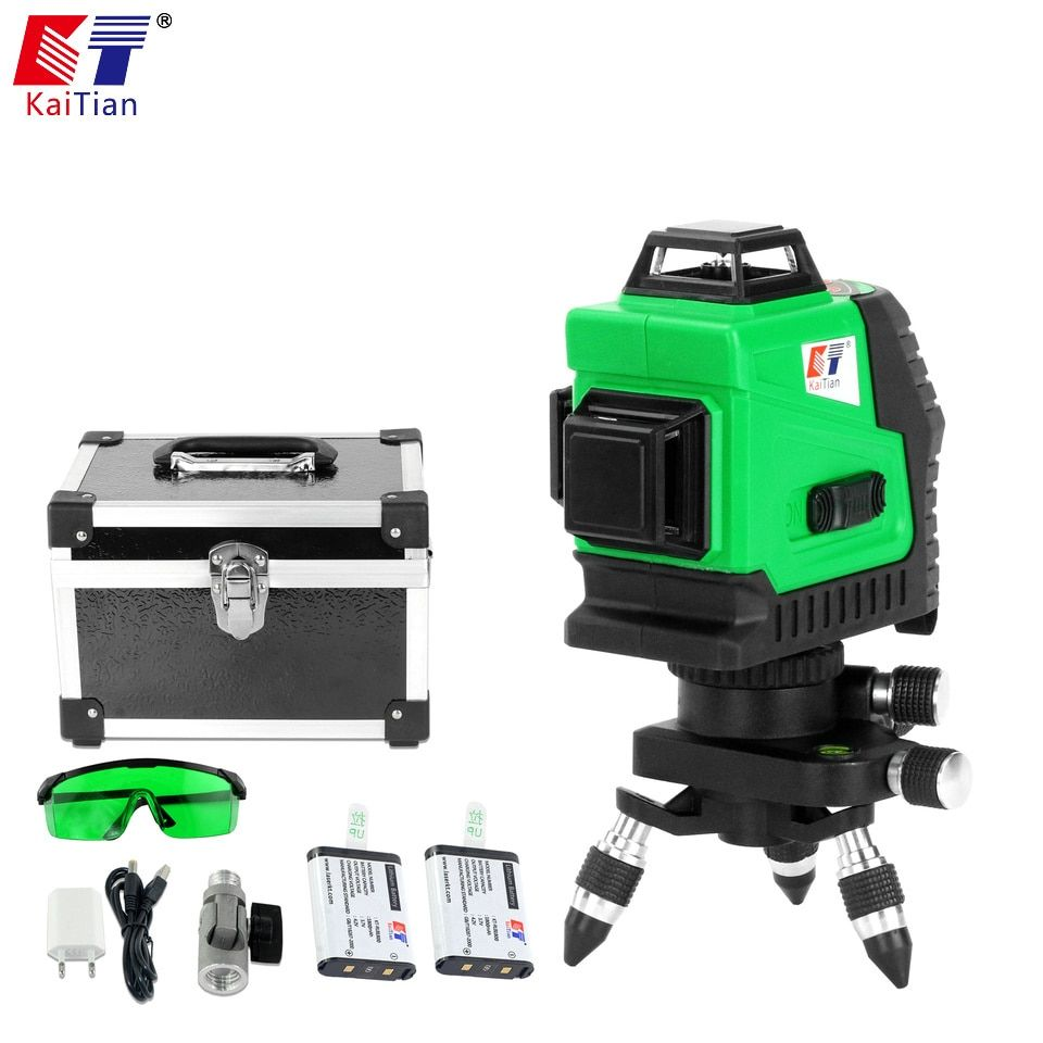 KaiTian 3D Green 12 Lines Laser Level Battery Self-Leveling 360 Horizontal 532nm Vertical Cross Livello Laser x Beam Line Tools