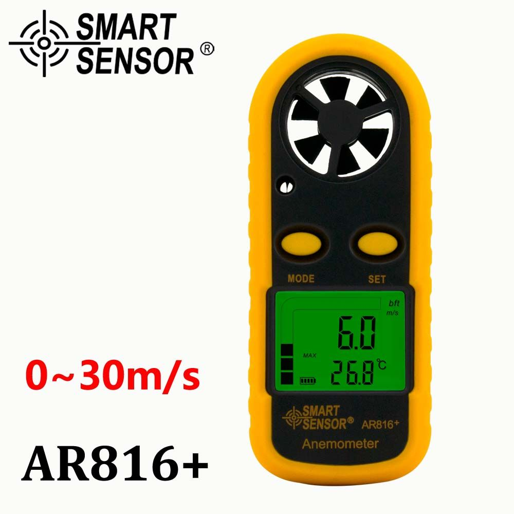Pocket Wind Speed Gauge air flow Anemometer Thermometer Wind Speed meter Smart Sensor AR816+ Measuring Instruments High quality