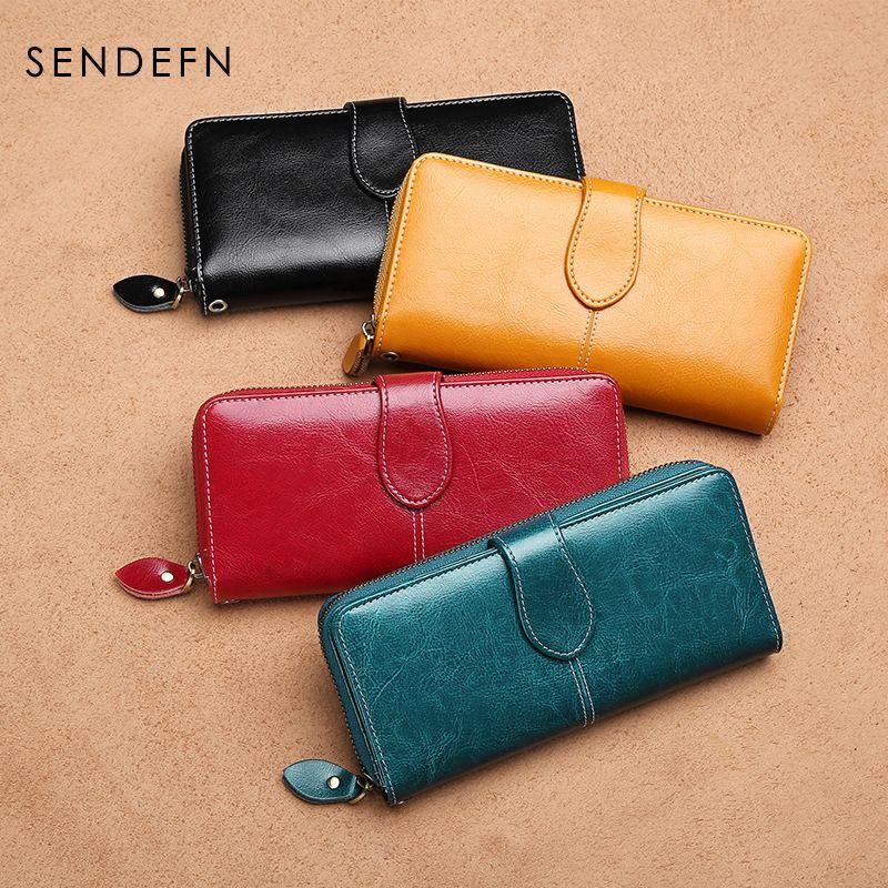 Qualität Kupplung Mode Neue Brieftasche Split Leder Brieftasche Weibliche Lange Geldbörse Frauen Reißverschluss Geldbörse Riemen Geldbörse Für iPhone 7 Plus