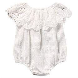 2018 Nouveau Mignon Nouveau-Né Bébé Fille Barboteuse Vêtements Blanc Dentelle Combishort Salopette Tenue D'été Bebes Sunsuit 0-24 M