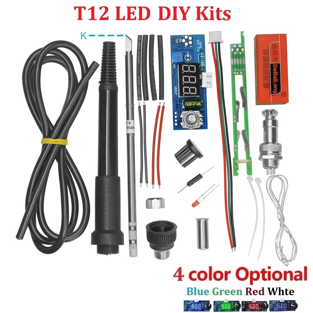 Electric Unit Digital Soldering Iron Station Temperature Controller Kits for HAKKO T12 Handle DIY kits w/ LED vibration switch
