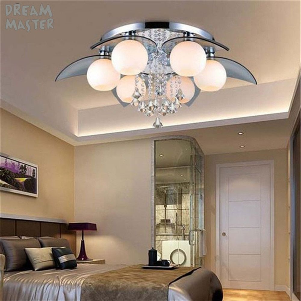 220V Remote control LED chandeliers crystal Luster Lamps living room bedroom beautiful lamp fixture luminaria luces decorativa