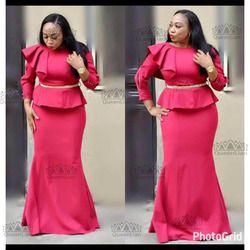 2017 ropa Africana falsos dos piezas vestido largo con cinturón Rocío hombro para Lady