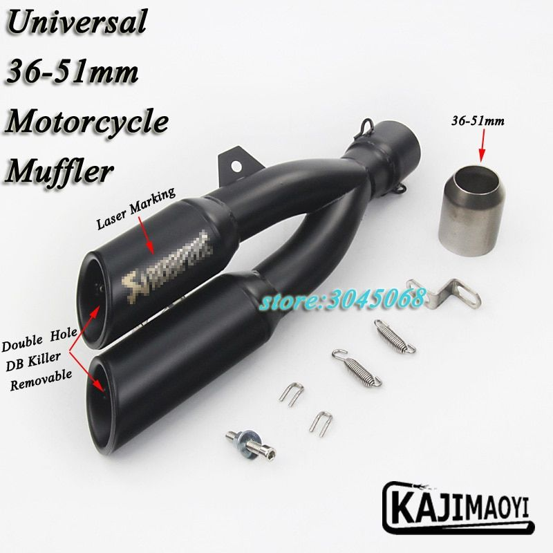 Laser Marking Motorcycle Exhaust Modified Muffler With Removable Double Holes DB Killer For CB400 CBF190R Z250 Ninja300 Z750 R3