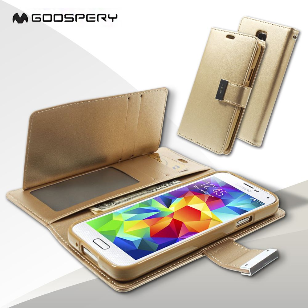 Funda coque pour Galaxy S5 G900 Mercure GOOSPERY Riche Journal Portefeuille Couverture en cuir pour Samsung Galaxy S5 G900/S5 Neo-Champagne