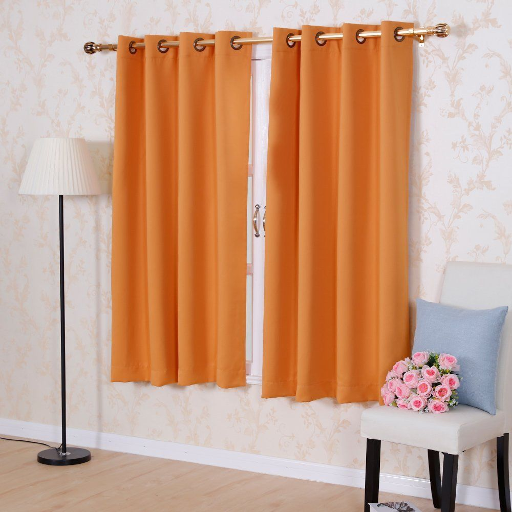 Solid color Thermal Insulated Blackout curtains 8 Grommets Solid color Drapes Modern Window Curtain for bedroom Single panel