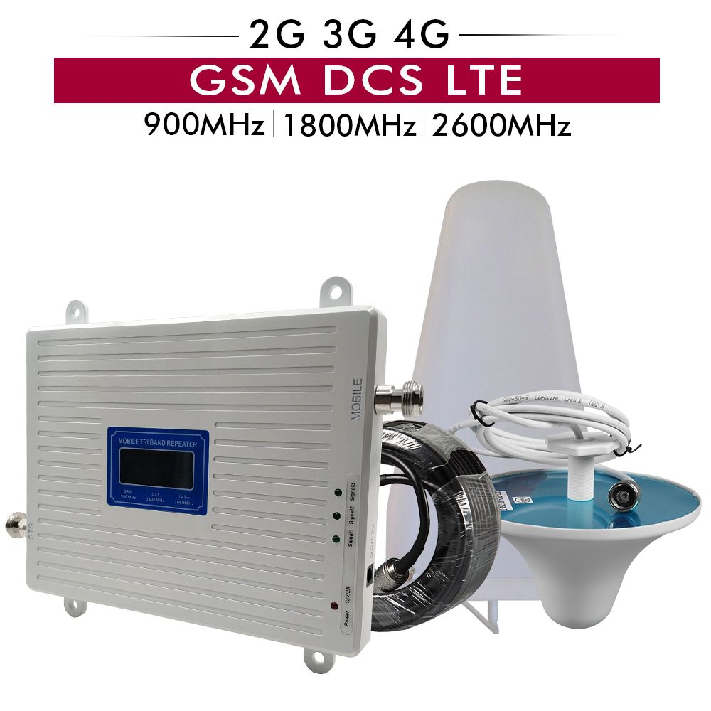 2G 3G 4G Triple Band Mobile Signal Repeater GSM 900+DCS/LTE 1800+FDD LTE 2600 Cellphone Signal Booster Mobile Cellular Amplifier