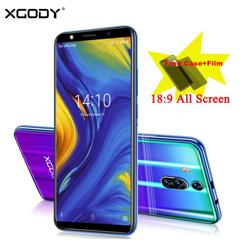 XGODY New 3G Mobile Phone 6 Inch 18:9 Full Screen Dual Sim Smartphone Android 8.1 1GB+8GB 2800mAh 5.0MP Camera Telefone Celular