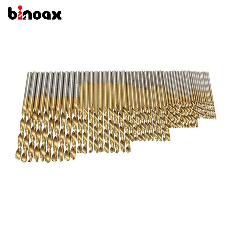 Binoax 50Pcs 1/1.5/2/2.5/3mm Titanium Coated HSS Drill Bit Set Tool #P00174#