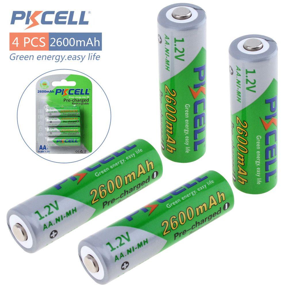 Новое поступление 4 шт. PKCELL 1.2 В Ni-MH 2600 мАч ЛСД Аккумуляторы Bateria предварительно заряжен Батареи комплект с 1200 цикл
