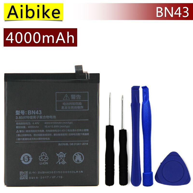 BN43 Aibike Nueva batería original del teléfono móvil Para Xiaomi Redmi Nota 4X Batería 4000 mAh Reemplazo Real