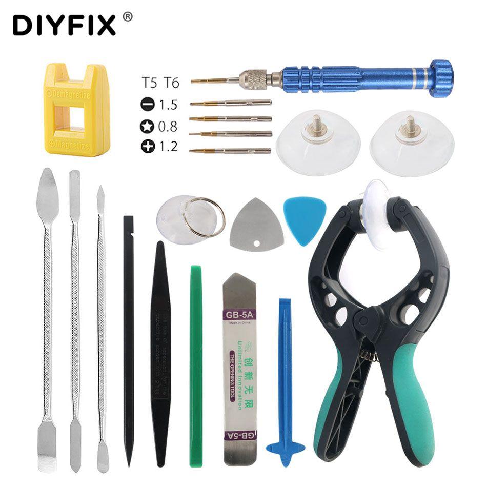 DIYFIX 20 in 1 Repair Tools Kit Smartphone LCD Screen Opening Pliers Metal Pry Spudger Set for Mobile Phone Tablet Laptop PC