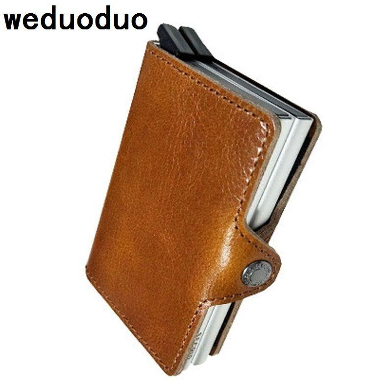 Weduoduo Hommes D'affaires ID Porte-Cartes En Cuir Véritable Titulaire de la Carte de Crédit Carte Bancaire Organisateur Renseignements Carte Cas Cadeau