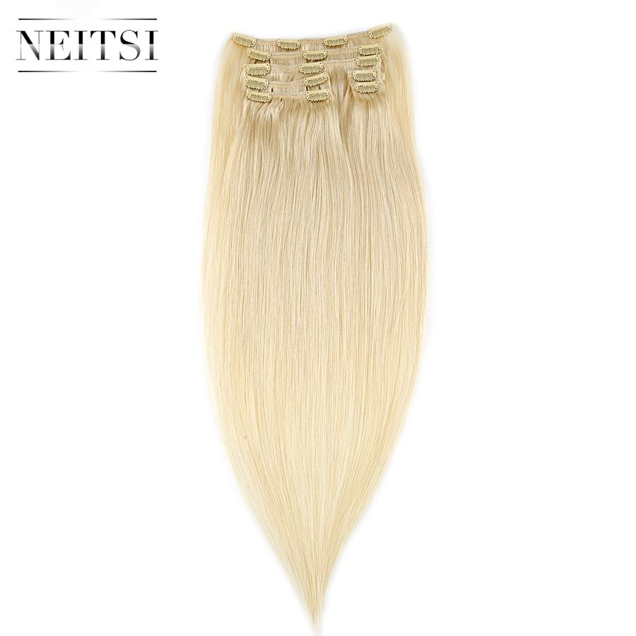 Neitsi Straight Machine Made Remy Clip In On Hair Full Head 100% Human Hair Extensions 20