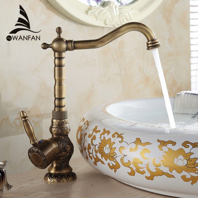 Basin Faucets Deck Mounted Single Handle Bathroom Basin Mixer Tap Antique Bronze Crane High Quality Hot & Cold Water AL-9988F