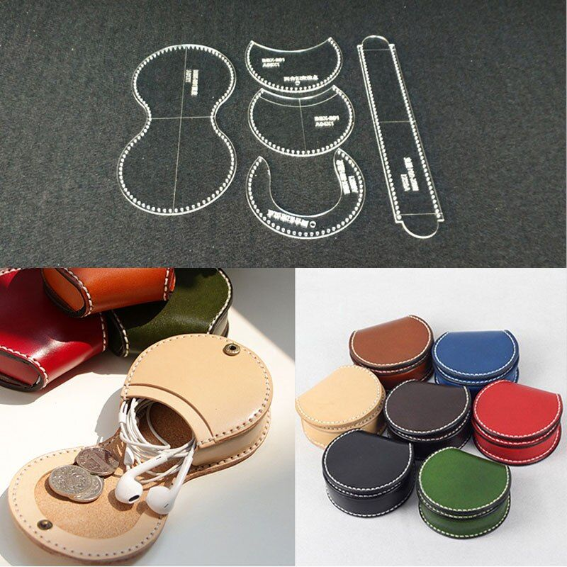 Acrylic Stencil Leather Template Home Leathercraft Sewing Pattern Tools Accessory Earphone line bag Mini coin bag 8.5*8.5*4cm