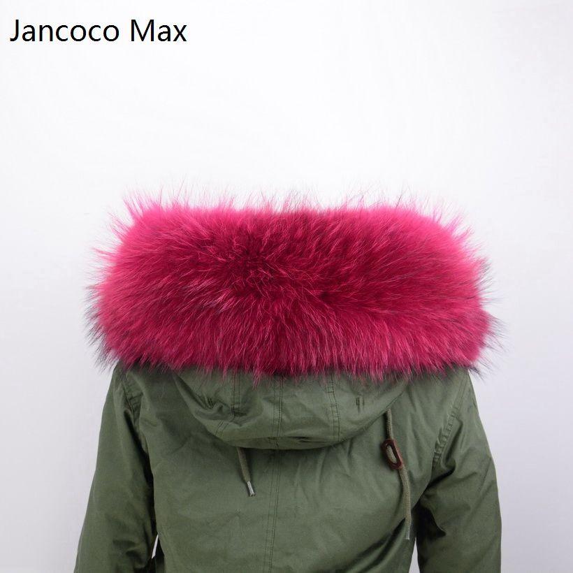 Jancoco MAX 80 см Подкладка натуральный меховой воротник отделка или натуральной енота Мех животных большой шарф парка пальто с капюшоном воротн...