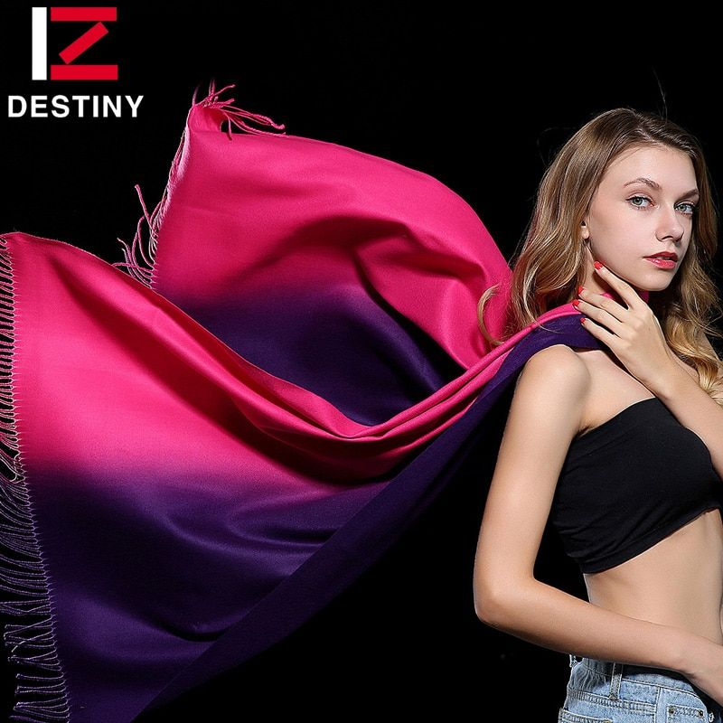 DESTINY Women Scarf Female Luxury Brand Scarves Winter Fashion Lady Bandana Shawl Tippet Pashmina Cashmere Double Color Gradient