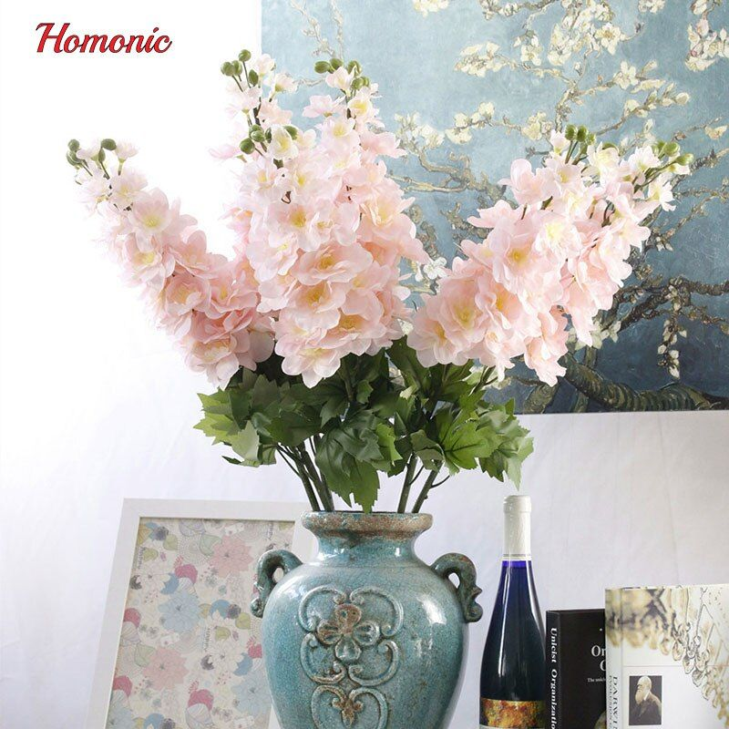 Vivid Autumn Artificial Flowers Fake Delphinium Flower with Leaf Posy high quality silk flowers for home decoration P25
