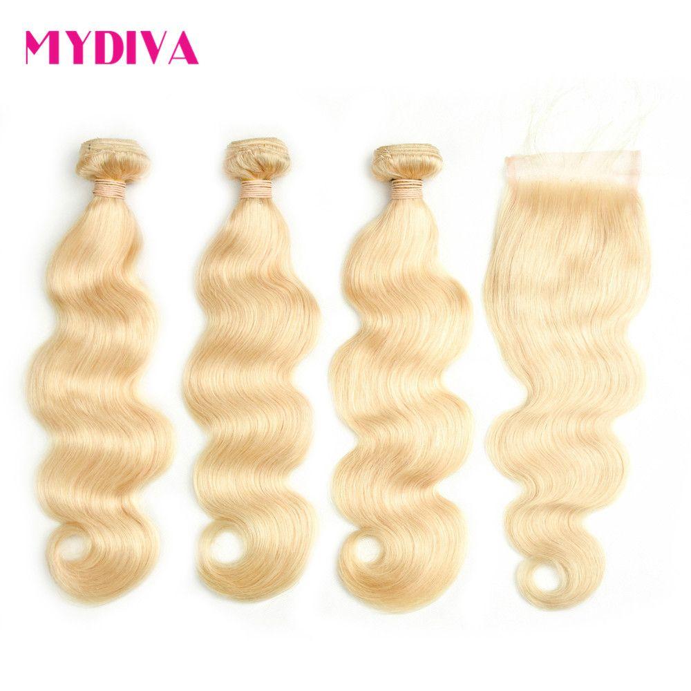 Blonde Bundles With Closure Brazilian Body Wave Human Hair 3 Bundles With Closure Remy 613 Blonde Hair Extensions 4 Pcs/Lot