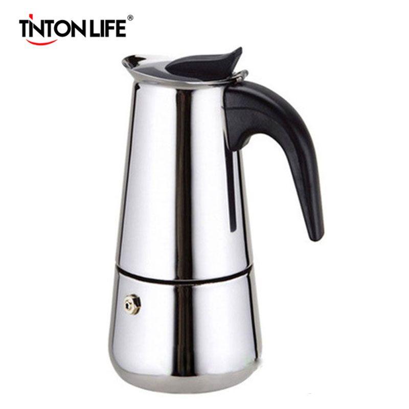 TINTON LIFE 2 Cup Stainless Steel Moka Espresso Latte Percolator Stove Top Coffee Maker Pot