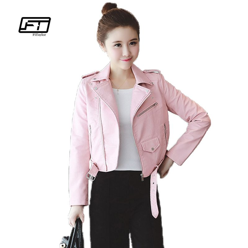Autumn Winter Pink Blue Women Leather Jackets Soft Pu Faux Leather Coats Slim Short Design Turn Down Collar Motorcycle Outwear