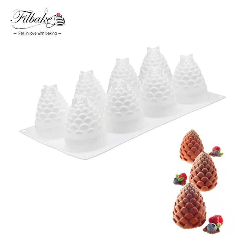 Filbake 8 полости Pine Гайки узор мусс модель DIY выпечки формы силикагель конфеты торта силикона быть формы