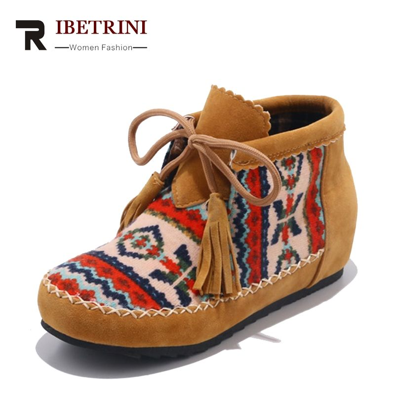 RIBETRINI Spring Autumn Fashion Large Size 34-43 Embroider Flock Lace Up Ankle Boots Woman Sewing Low Heel Colorful Women Shoes