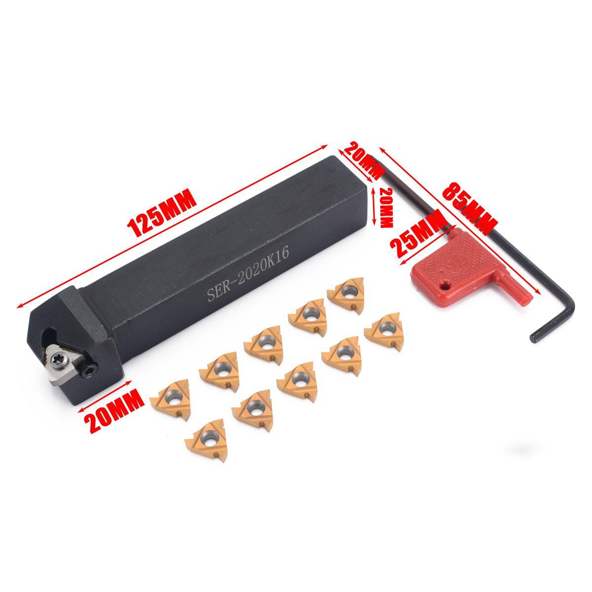 10pcs 16ER AG60 Blades Inserts + SER2020K16 Tool Holder Boring Bar + Wrench For Lathe Turning Tool