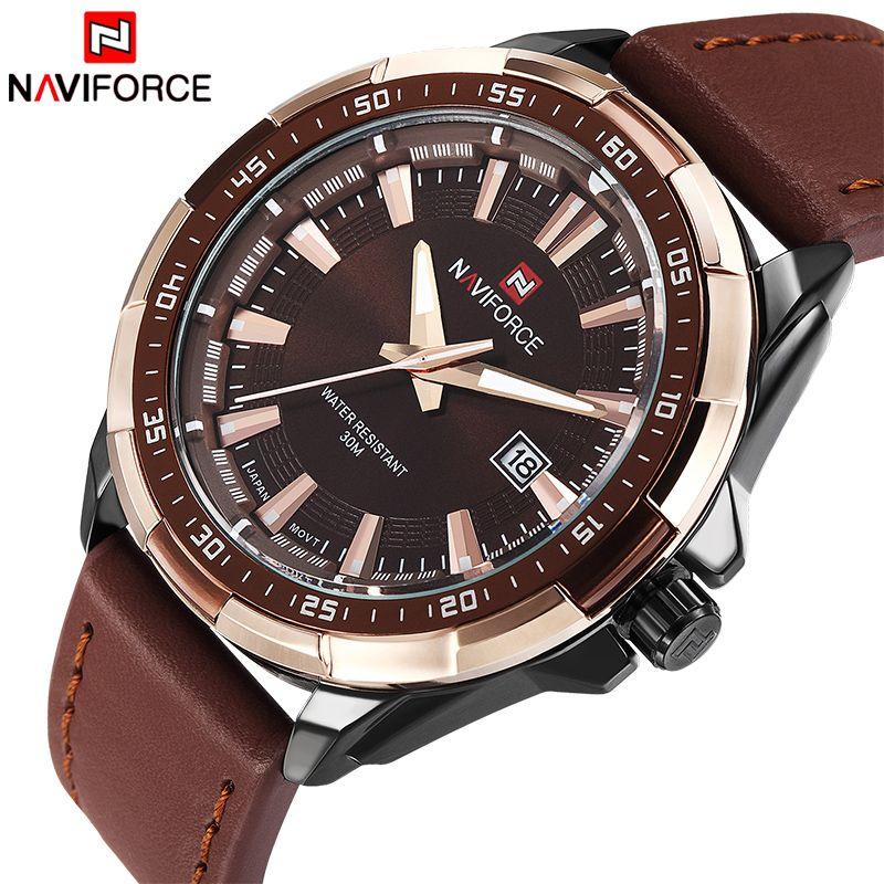2017 NEW Fashion Casual <font><b>NAVIFORCE</b></font> Brand Waterproof Quartz Watch Men Military Leather Sports Watches Man Clock Relogio Masculino
