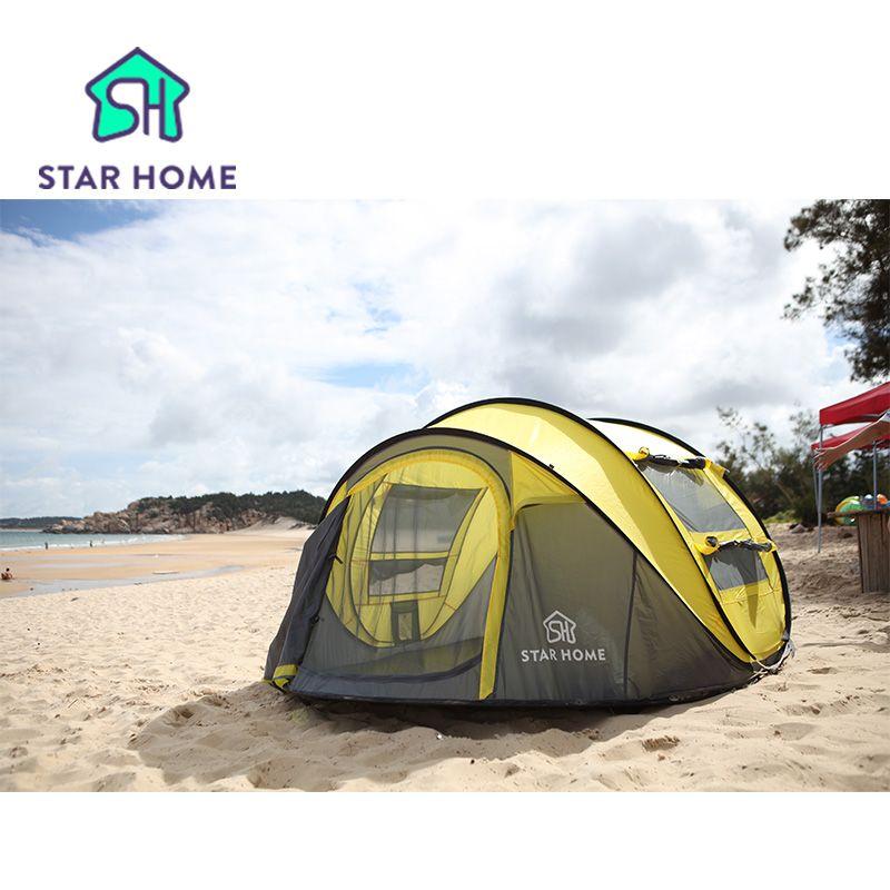 Star home Großen wurf zelt! outdoor 3-4persons automatische drehzahl offenen werfen pop up wasserdichte strand zelt 2 zweite öffnen