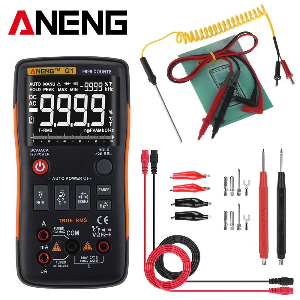 ANENG Q1 Digital Multimeter True RMS Button 9999 Counts with Analog Bar Graph AC DC Voltage Ammeter Current Ohm Auto/Manual