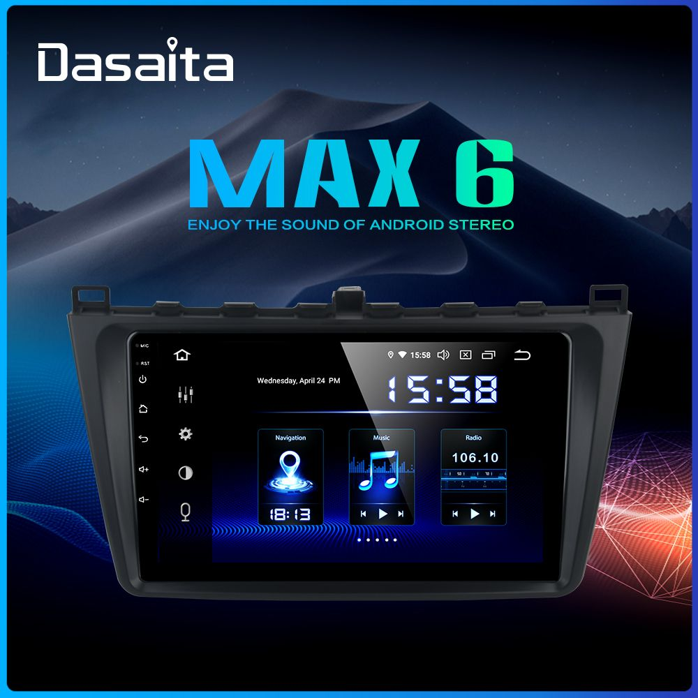 Dasaita 9 IPS touchscreen Auto Stereo GPS Android 9.0 für Mazda 6 2008 2009 2010 2011 Navigation Bluetooth TDA7850 4GB RAM MAX6