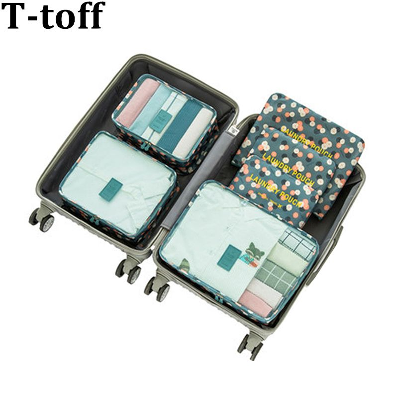 Nylon <font><b>Packing</b></font> Cube Travel Bag men women luggage 6 Pieces Set Large Capacity Bags Unisex Clothing travel bag organizer