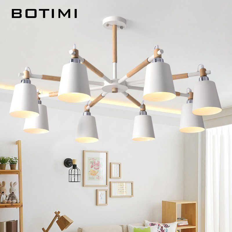 BOTIMI Lustre Solid Wood Chandelier For Living Room Iron Lampshade LED Chandelier Lighting Lustres Para Sala De Jantar Home Lamp
