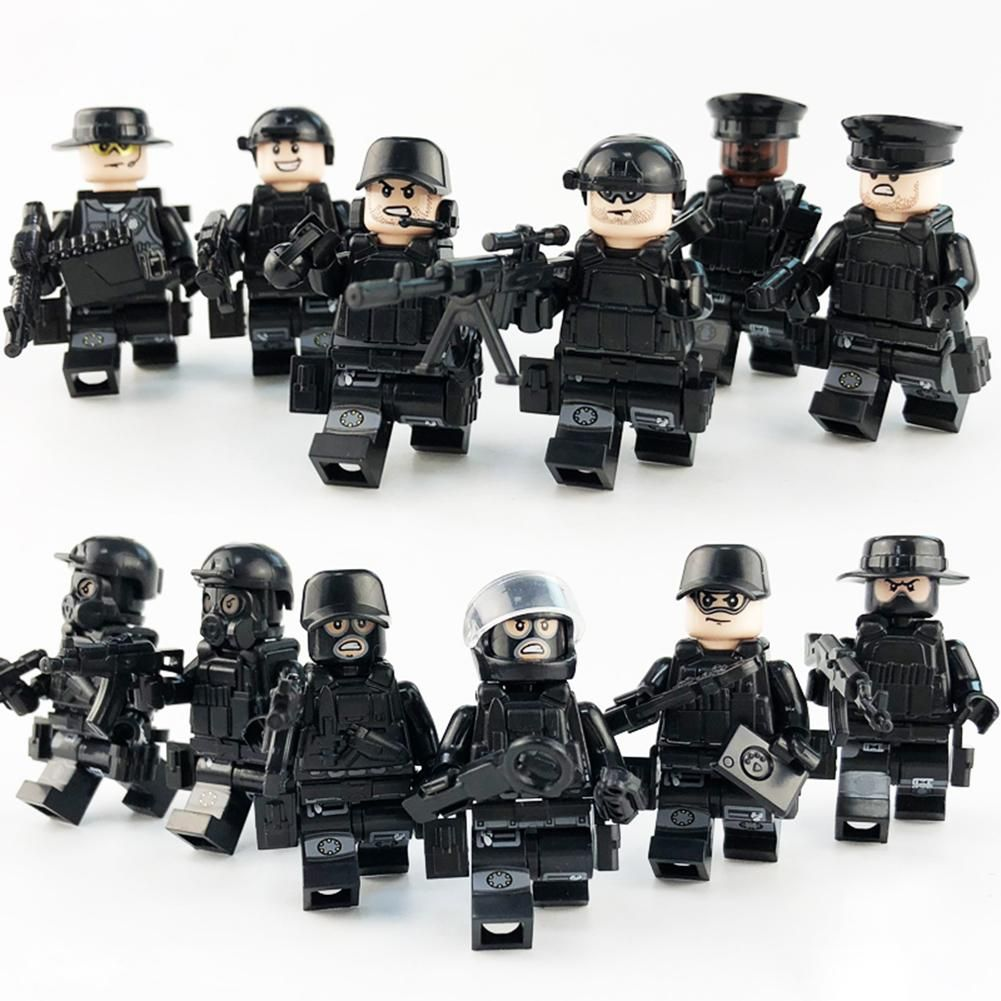 12 Models Regimental Police City Police Mask Bulletproof Clothing Belt Military Children's Building Blocks Humanoid Toys