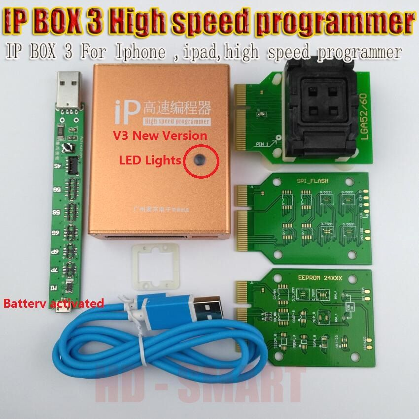 IP box v3 IP BOX 3 high speed programmer for phone pad hard disk programmers4s 5 5c 5s 6 6plus memory upgrade tools 16g to128gb