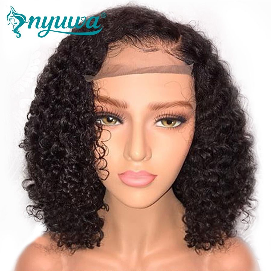 NYUWA Short 13x6 Lace Front Human Hair Wigs Pre Plucked With Baby Hair Curly Brazilian Remy Hair Lace Front Bob Wigs 10-14