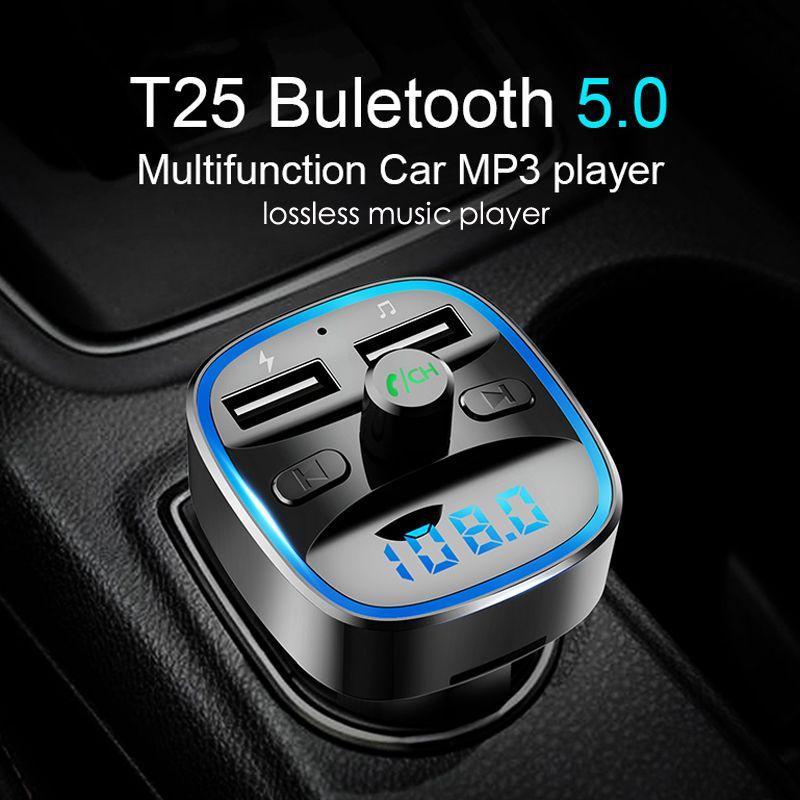 Bluetooth 5.0 FM transmetteur sans fil Bluetooth voiture Kit voiture lecteur MP3 Unique écran d'affichage Aux modulateur mains libres chargeur rapide