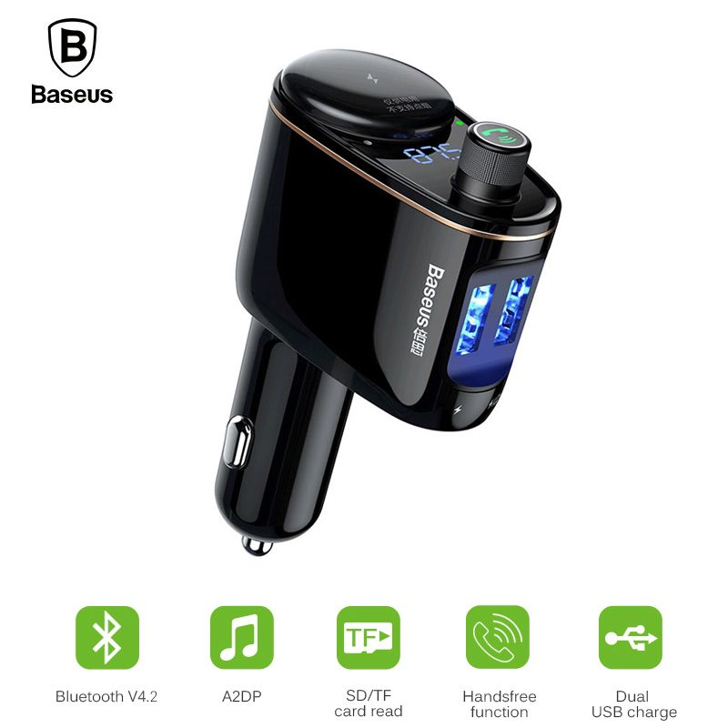 Baseus Car MP3 Audio <font><b>Player</b></font> Bluetooth Car Kit FM Transmitter Handsfree Calling 5V 3.4A Dual USB Car Charger Mobile Phone Charger